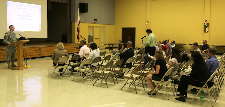 Lt. Col. Thomas Greco, Jacksonville District deputy commander for south Florida, faciliated the Dec. 12 public meeting in Clewiston, Fla. Between Dec. 10 and 18, the Corps hosted five public meetings throughout south Florida to present the proposed final array of alternatives for the Central Everglades Planning Project and give all interested individuals, groups and agencies an opportunity to comment and ask questions.