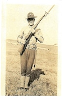 Frank Baron Jr. stands at port-arms circa 1933. Baron served as an active duty Marine from 1933 to 1937. Photo provided by Teri Juybari, Baron's granddaughter.