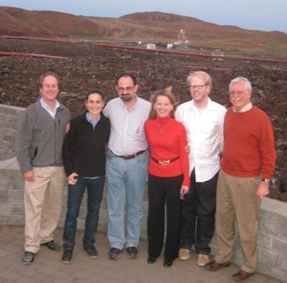 From left to right are Michael Case, ERDC Construction Engineering Research Laboratory; Kelsie Baker, Dr. Igor Linkov, Dr. Beth Fleming, and Zachary Collier, ERDC Environmental Laboratory; and Dr. Russell Harmon, ERDC International Research Office, at the Sustainable Cities and Military Installations workshop in Hella, Iceland.
