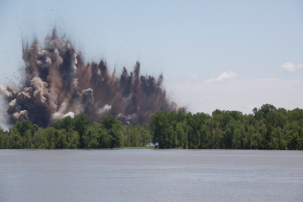 A blast goes off during activation of the Birds Point – New Madrid Floodway. (Photo by Oscar Reihsmann, ACE-IT)