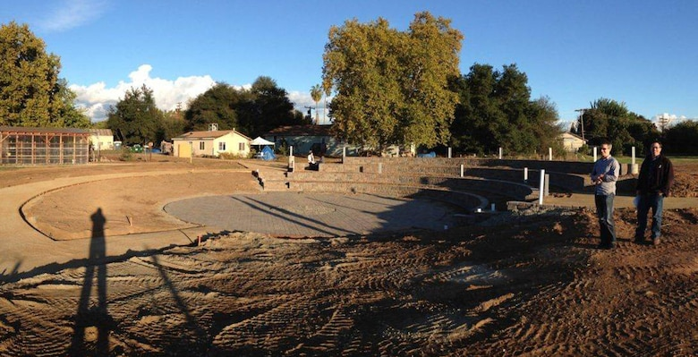 The newly completed amphitheater at Soil Born Farms in Rancho Cordova, Calif., shown in fall 2012, was a project of the Leadership Sacramento class of 2012. U.S. Army Corps of Engineers Sacramento District planner Kim Carsell helped plan and build the project, the largest-ever community service project by a Leadership Sacramento class. (Photo courtesy of Kim Carsell)
