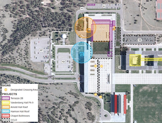 Construction projects going on at the Air Force Academy through 2014 will affect traffic flow as well as access to parking areas and parts of the Terrazzo. (U.S. Air Force image)