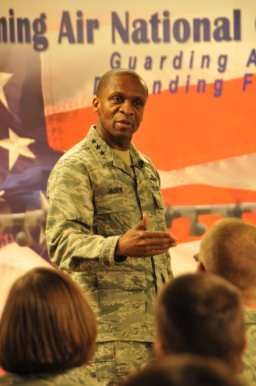 Lt. Gen. Darren W. McDew, 18th Air Force commander, addresses Airmen of the 153rd Airlift Wing at an all call Dec. 18, 2012. The general visited the Wyoming Air National Guard to meet with Airmen and discuss Total Force Integration. (U.S. Air Force photo by Capt. Rusty Ridley)