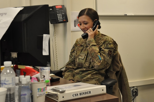 Senior Airman Keshia Shutts received a Christmas morning phone call from President Barack Obama while deployed at Kandahar Airfield, Afghanistan. (U.S. Air Force photo by Capt. Tristan Hinderliter)