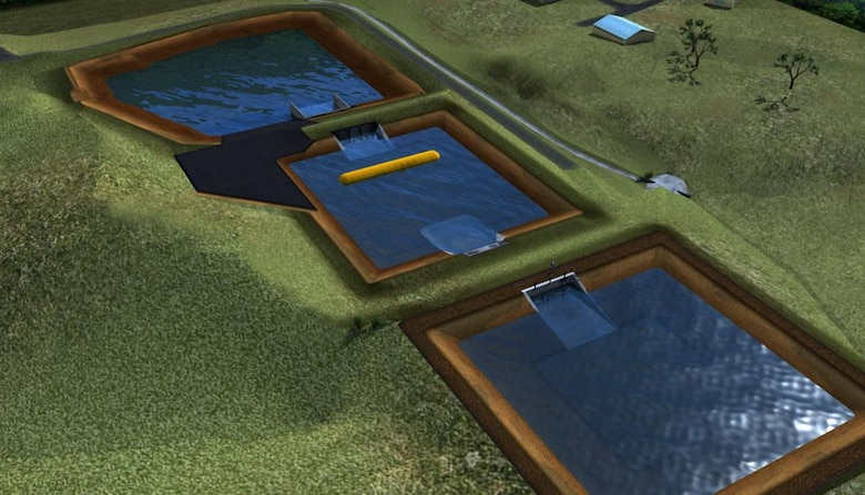 Artist's rendition of the three-basin Full-Scale Levee Breach and Hydraulic Test Facility.