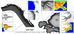 Example ADCIRC meshes showing resolution details and bathymetry.