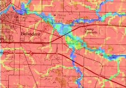 Representation of Illinois flood from a 100-year storm in progress. Color represents water depth, blue being the deepest.