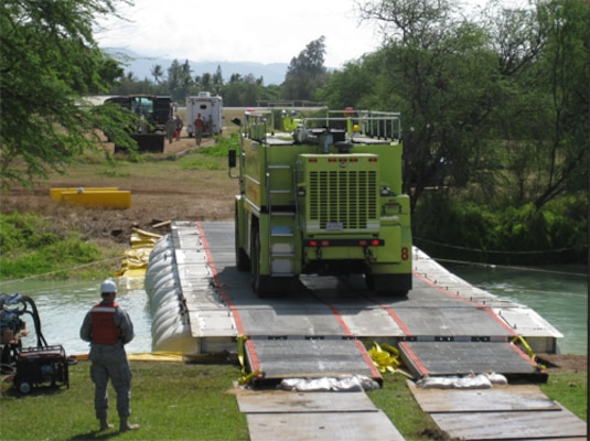 LMCS used to by-pass damaged bridge during Simulated Disaster Relief Operations on Hickam AFB in Hawaii (2009).