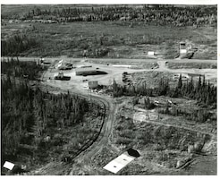 An aerial view of the FPS displays the various plots and forests used for research.