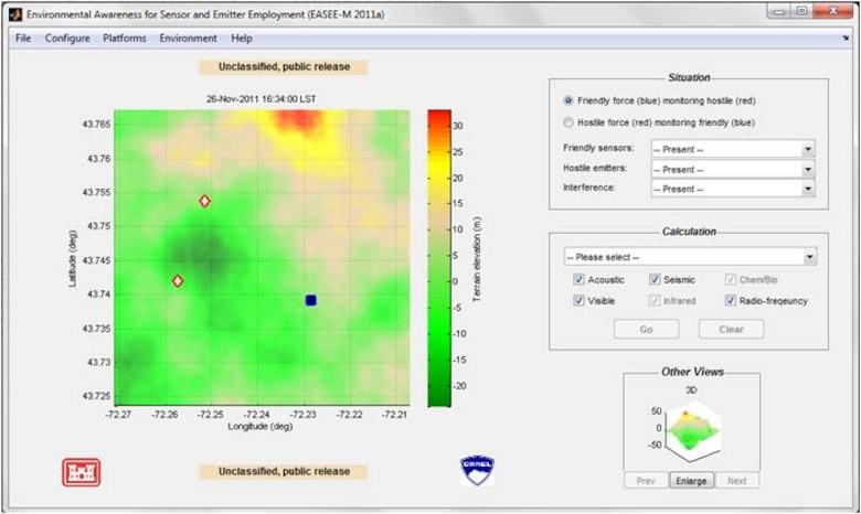 EASEE interface for Windows. Users can rapidly place sensors on the terrain and select calculation type.