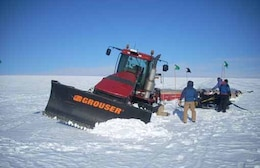 The rover can help prevent incidents such as this, when a tractor broke through a snow bridge over an undetected crevasse.
