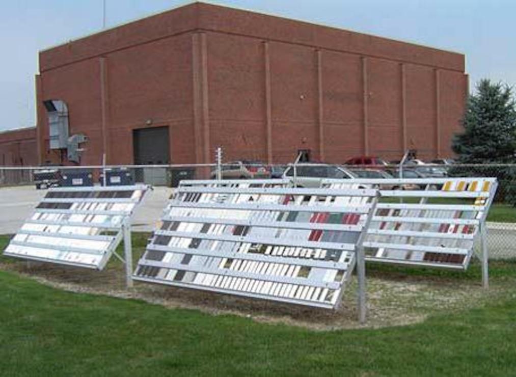 At PTC, weathering racks expose painted metal samples to years of ambient environmental stresses.