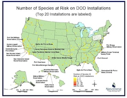 More than 240 documented species that are candidates for the Endangered Species Act live on DoD installations throughout the Nation.