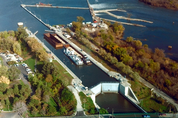 Brandon Road Lock and Dam is near Joliet, Illinois, 286 miles above the confluence of the Illinois River with the Mississippi River. The lock opened in 1933 and is one of five designed and partially constructed by the state of Illinois over a period from 1927 to 1930.