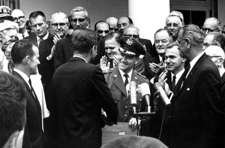 Maj. Gen. Ben Funk is presented with NASA's Space Achievement Award at a White House ceremony in 1963. (Photo courtesy of SMC History Office)