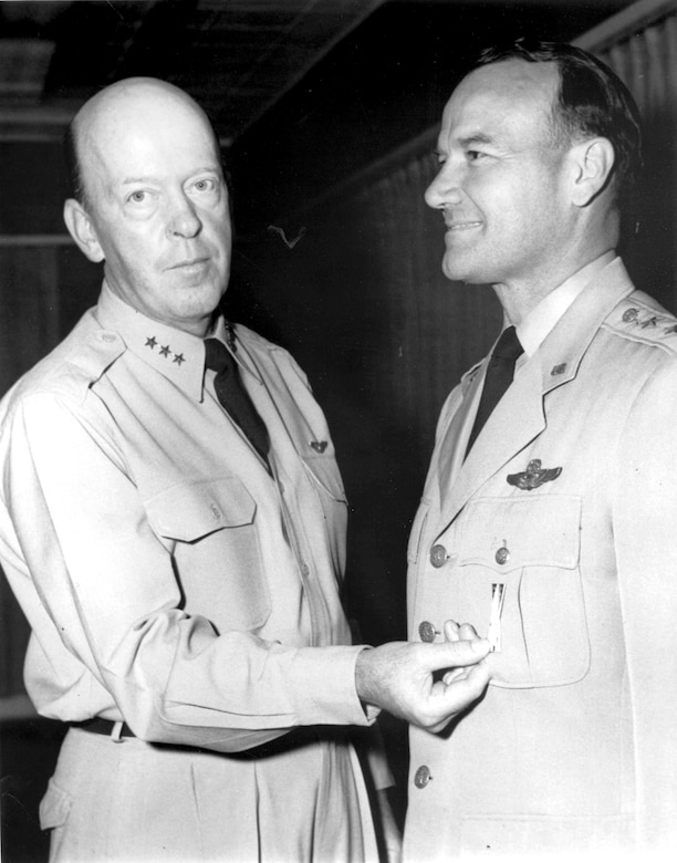 Maj. Gen. Ben Funk receives the first Air Materiel Command Missile Badge in 1958. (Photo courtesy of SMC History Office)