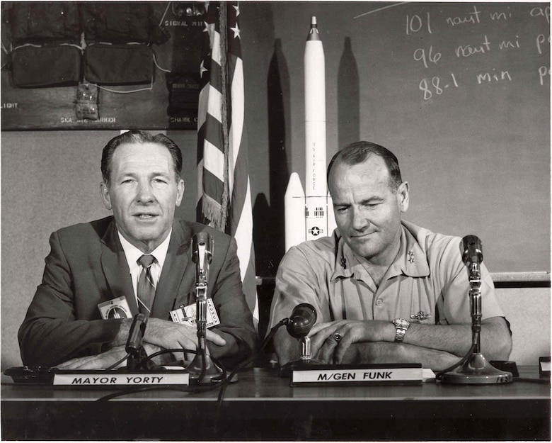 Former Los Angeles Mayor Sam Yorty and Maj. Gen. Ben Funk attend a Titan III launch in 1965. (Photo courtesy of SMC History Office)