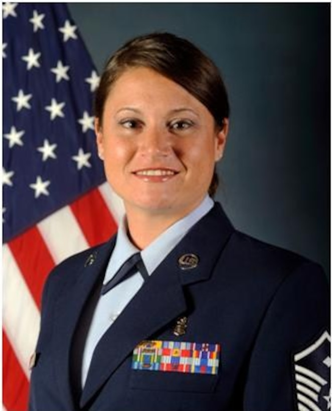 BUCKLEY AIR FORCE BASE, Colo. - Official photograph of Master Sgt. Brandy Sharp, 460th Medical Group First Sergeant. (Photo courtesy of U.S. Air Force)