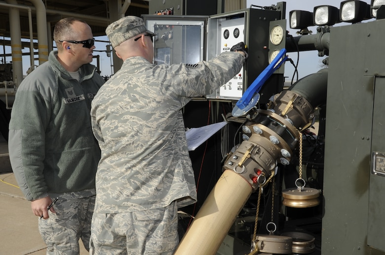 Airmen practice shut down procedures on refueling equipment Jan. 31, 2012 during the new Fuels Operational Readiness Capability Equipment (FORCE) training course taught by the 364th Training Squadron at Sheppard Air Force Base, Texas.  FORCE training looks at the fuels equipment of the future currently only being used in deployed locations. (U.S. Air Force photo/Frank Carter)