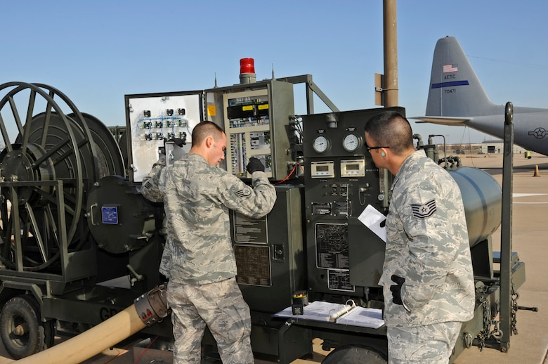 Airmen cover start-up procedures for refueling equipment Jan. 31, 2012 during the new Fuels Operational Readiness Capability Equipment (FORCE) training course taught by the 364th Training Squadron at Sheppard Air Force Base, Texas.  FORCE training looks at the fuels equipment of the future currently only being used in deployed locations. (U.S. Air Force photo/Frank Carter)