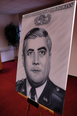SPANGDAHLEM AIR BASE, Germany – A painting of Lt. Gen. Leo Marquez sits on display during a dedication ceremony in his honor at the Eifel Community Center here Jan. 31. The painting will be displayed at the 52nd Maintenance Group headquarters. Airmen attended the event to honor the achievements and contributions Marquez made to the Air Force in his 33 years of service. Some of Marquez' additions include the implementation of the Air Force Combat Ammunitions Center — an advanced training course for munitions Airmen — and the maintenance badge that all Air Force maintainers now wear. Marquez died Dec. 30, 2011, at age 79.  (U.S. Air Force photo/Airman 1st Class Matthew B. Fredericks)
