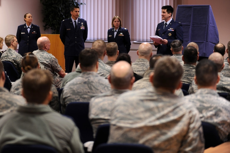 SPANGDAHLEM AIR BASE, Germany – Capt. James Schmidt, 81st Fighter Squadron pilot, speaks about the career of Lt. Gen. Leo Marquez at a dedication ceremony at the Eifel Community Center here Jan. 31. Airmen attended the event to honor the achievements and contributions Marquez made to the Air Force in his 33 years of service. Some of Marquez' additions include the implementation of the Air Force Combat Ammunitions Center — an advanced training course for munitions Airmen — and the maintenance badge that all Air Force maintainers now wear. Marquez died Dec. 30, 2011, at age 79. (U.S. Air Force photo/Airman 1st Class Matthew B. Fredericks)