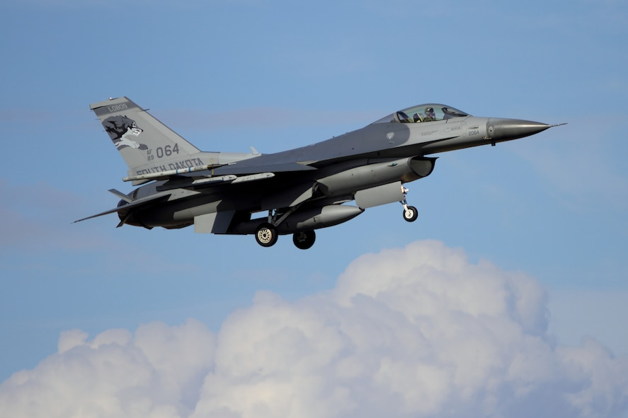 TYNDALL AFB, Fla. -  A 114th Fighter Wing, South Dakota Air National Guard F-16 aircraft approaches for a landing at Tyndall Air Force Base, Fla. Feb. 1, 2012.  The unit is in Florida to participate in Combat Archer for a two week deployment.  The exercise allows pilots and crew of the unit to train and be evaluated with live munitions.(Photo courtesy of Attila Papp, Hot Ramp Photography, Ontario, Canada)