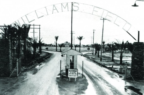 This gate marked the entrance to the Williams Field Army Air Station in 1942. Since then, the AAF has closed and the site has been returned to the former owners. The U.S. Army Corps of Engineers Los Angeles District is currently conducting a Treatability Study/technology Demonstration at several of the sites as part of the Remedial Investigation/Feasibility Study of the formerly used defense sites.