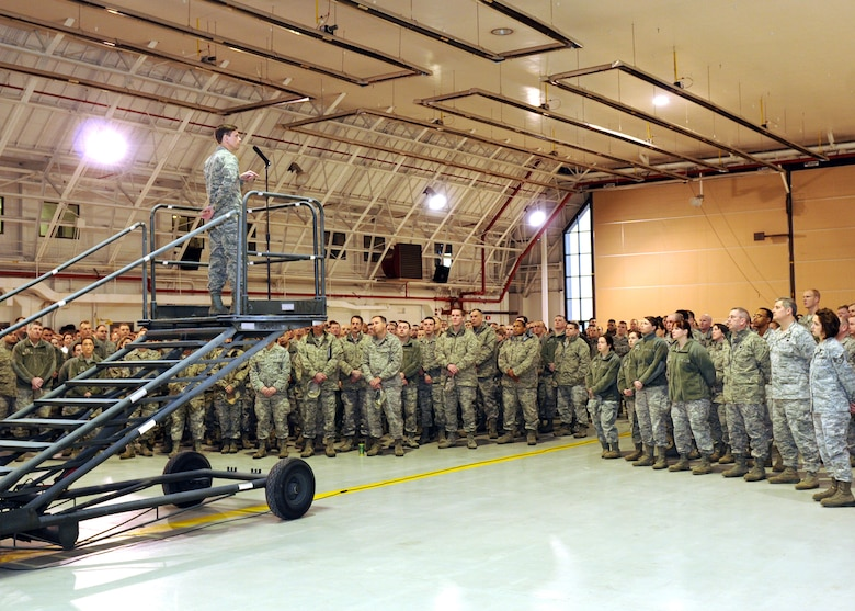 New York Air National Guard Col. Greg A. Semmel addresses members of Hancock Field Air National Guard Base as the newly selected 174th Fighter Wing Commander on February 4, 2012.  Semmel has served as Assistant Vice Commander and Operations Group Commander for the 174th Fighter Wing, as well as an operational test/evaluation pilot at Eglin Air Force Base, Florida and an instructor at the U.S. Air Force Fighter Weapons School at Nellis Air Force Base, Nevada.  He will assume commander during a ceremony held on March 4, 2012. (New York Air National Guard photo by Tech. Sgt. Jeremy M. Call/Released)
