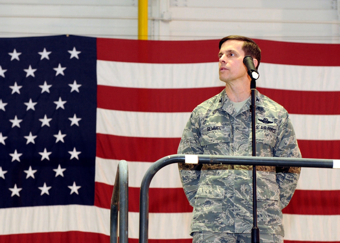 New York Air National Guard Col. Greg A. Semmel addresses Hancock Field members after being announced as the new 174th Fighter Wing Commander at Hancock Field in Syracuse, NY on February 4, 2012.  Semmel is a command pilot with more than 4,000 flying hours, including over 125 combat missions in various operations to include Operation Desert Shield, Operation Desert Storm, Operation Southern Watch, Operation Iraqi Freedom, Operation Enduring Freedom, and Operation Noble Eagle.  He will assume command during a March 4, 2012 change of command ceremony. (New York Air National Guard photo by Tech. Sgt. Jeremy M. Call/Released)