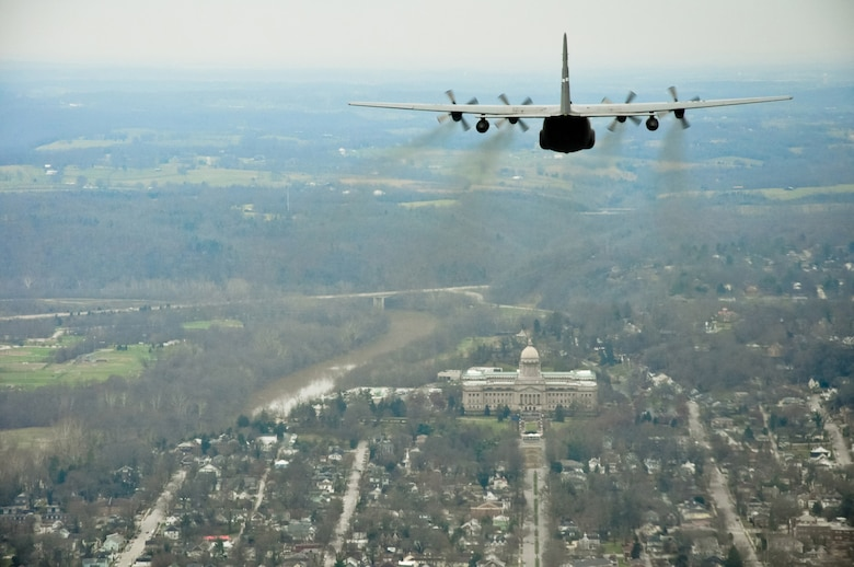 A Kentucky Air National Guard C-130 Hercules flies over the state Capitol Building Dec. 13 as part of the inauguration ceremony for Gov. Steve Beshear, who was being sworn in for his second four-year term as the Commonwealth's top elected official. He later re-appointed Maj. Gen. Edward Tonini for his second term as the state's adjutant general. (U.S. Army photo by Sgt. 1st Class Michael Oliver)