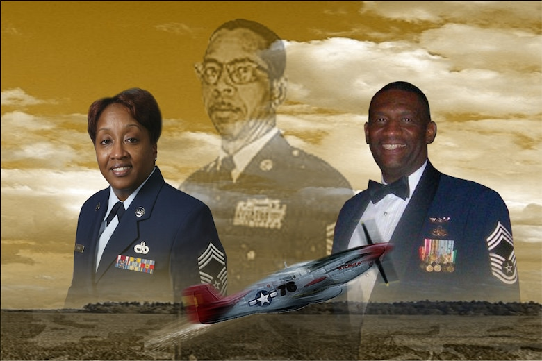Chief Master Sgts. Gregory L. Gamble, Headquarters 22nd Air Force and Sandra A. Wright, 94th Airlift Wing pay tribute to Fred Archer, member of the Army Air Corps and Tuskegee Airman, who overcame hurdles and conquered barriers to become one of the first African Americans to achieve the highest enlisted rank. They also encourage Airmen to take advantage of the opportunities provided by the U.S. Air Force. (U.S. Air Force graphic/Master Sgt. Travon Dennis)