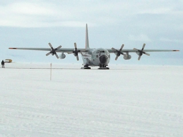 A New York Air National Guard LC-130 lands on an ice runway at McMurdo Station, Antarctica, on Jan. 18, 2012, during a resupply sortie flown in support of Operation Deep Freeze. New York requested the assistance of two Kentucky Air National Guardsmen for Deep Freeze, which supports scientific research at the bottom of the world. (U.S. Air Force photo by Master Sgt. Jason Smith)