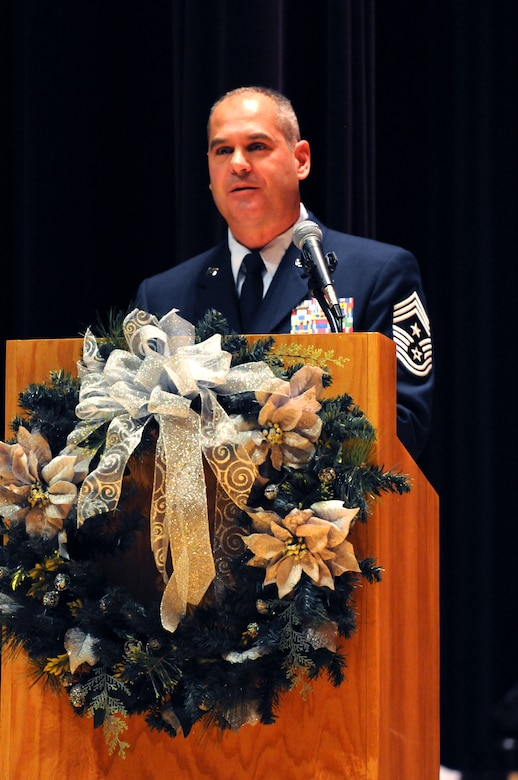 148th Fighter Wing Command Chief Master Sgt. Mark Rukavina addresses the 148th Fighter Wing for the first time as command chief during the Transfer of Authority ceremony December 4, 2012 at the Duluth Entertainment Convention Center.  (National Guard photo by Tech. Sgt. Brett Ewald.)