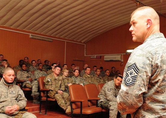 Members from the 438th Air Expeditionary Wing met with Chief Master Sgt. of the Air Force James A. Roy at Kabul International Airport, Afghanistan, Feb. 1, 2012. Roy discussed resiliency, leadership, budget cuts and educational benefits. (U.S. Air Force photo/Staff Sgt. Nadine Y. Barclay)