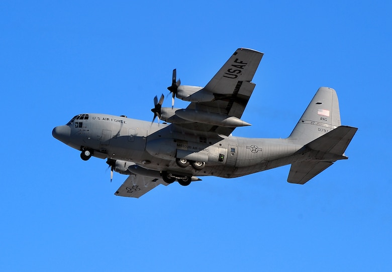 A Missouri Air National Guard C-130 cargo aircraft flies near Offutt Air Force Base, Neb., Dec. 6, 2011. (U.S. Air Force photo by Josh Plueger)