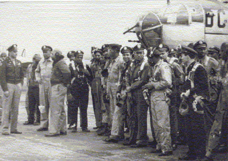 """African-American pilots from the 332nd Fighter Group, the famed """"Tuskegee Airmen."""""""