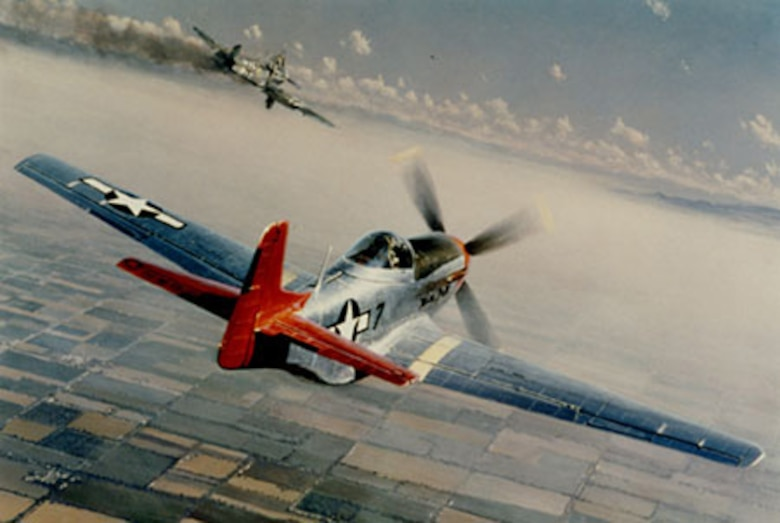 """Tuskegee Airmen distinctive """"red tails"""" provided cover for bombing missions during World War II."""