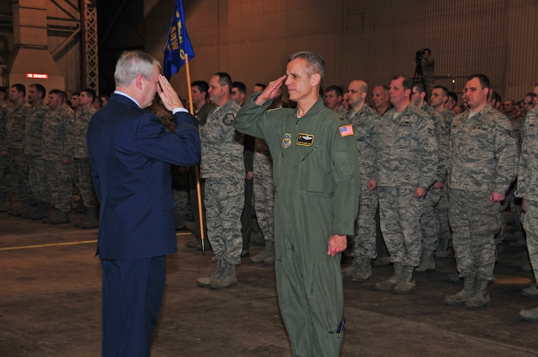 The 171st Air Refueling Wing hosts a change of command ceremony Sunday, Feb. 5.  Col. Anthony J. Carrelli accepts command of the 171st Air Refueling Wing from Brig. Gen. Roy Uptegraff who served as the unit's wing commander since 2006. Maj. Gen. Stephen Sischo, commander of the Pennsylvania Air National Guard, is the official host of the ceremony and is joined by distinguished military officials and community leaders.   (National Guard photo by Master Sgt. Stacey Barkey/Released)