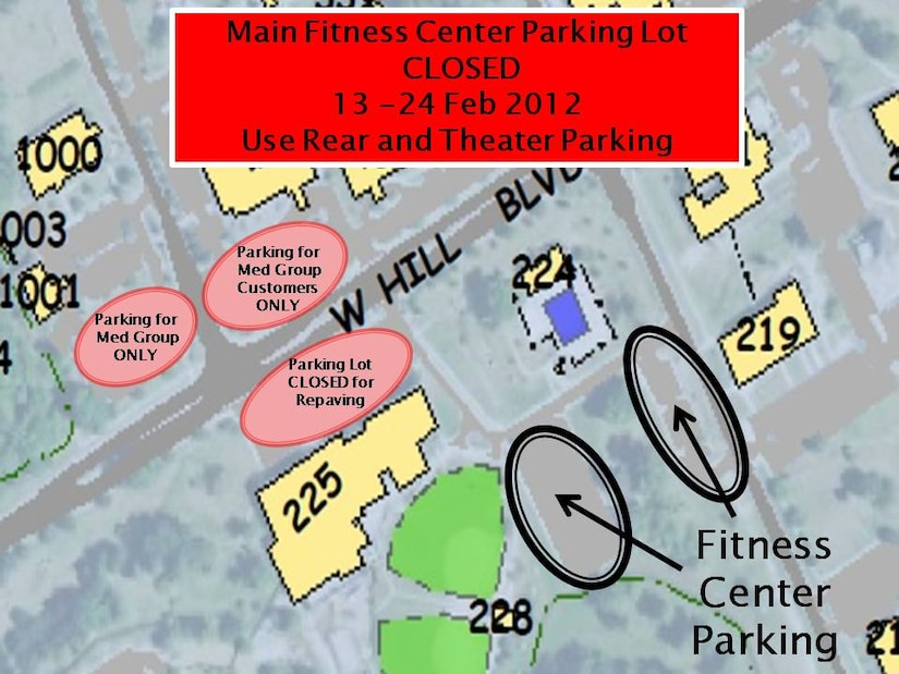The 628th Civil Engineer Squadron will be resurfacing the front parking lot of the Joint Base Charleston - Air Base Fitness Center, Feb. 13 to 24. The Fitness Center will remain open during this time; however patrons will need to park in the rear parking lots off of Davis Drive. The front parking lot on Hill Blvd. will be completely closed and there will be no access from the front parking lot to the back parking lots. Overflow parking will be available in the parking lots around the Base Theatre.