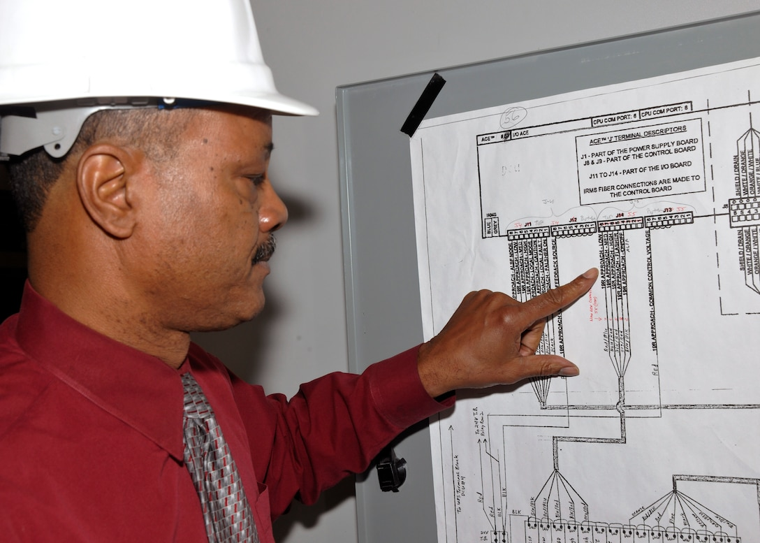 Michael Butts, 11 CES electrical engineering technician, reviews a wiring control diagram inside Building 1207 Feb. 8. Diagrams such as this provide engineers with the information concerning the relays that operate lights on the Joint Base Andrews flightline. Recently, Butts was named Engineer of the Year for Modern Day Technology Leaders by US Black Engineer & Information Technology Magazine.  (U.S. Air Force photo/Airman 1st Class Lindsey A. Beadle)