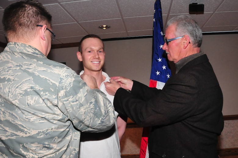 The 171st Air Refueling Wing  loses one of its members when he is commissioned Feb. 9.  Senior Airman Garrett Herdman, a Personnel Specialist assigned to the 171st Force Support Squadron is awarded a scholarship through the Armed Forces Health Professions Scholarship Program.  He is commissioned as a Second Lieutenant in the Medical Service Corps and placed on inactive, obligated Reserve status while completing his studies.  (National Guard photo by Master Sgt. Ann Young)