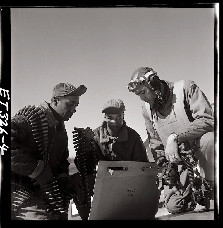 Tuskegee airmen Roscoe C. Brown, Marcellus G. Smith, and Benjamin O. Davis, Ramitelli, Italy, March 1945. Photo by Toni Frissell, Library of Congress.