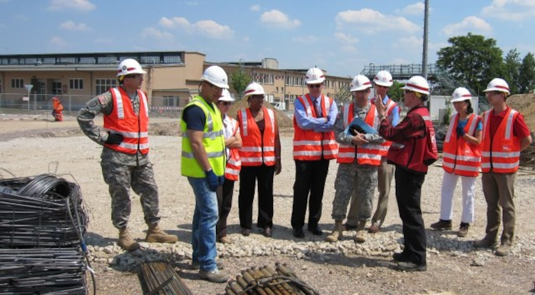 WIESBADEN, Germany — George VanCook, a U.S. Army Corps of Engineers Europe District civil engineer, gives VIPs a tour of the new 285,000-sq.-foot, environmentally sustainable mission command center, being built on U.S. Army Garrison Wiesbaden by USACE.