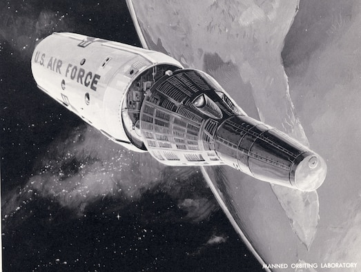 "Manned Orbiting Laboratoy (MOL), an evolution of the earlier ""Blue Gemini"" program, which was conceived to be an all-Air Force parallel of NASA's Gemini efforts. (U.S. Air Force photo)"