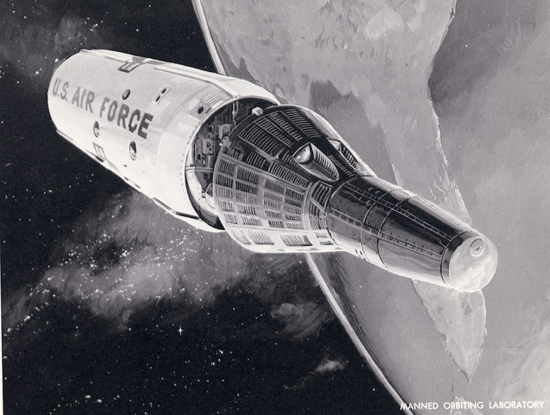 "Manned Orbiting Laboratory (MOL), an evolution of the earlier ""Blue Gemini"" program, which was conceived to be an all-Air Force parallel of NASA's Gemini efforts. (U.S. Air Force photo)"