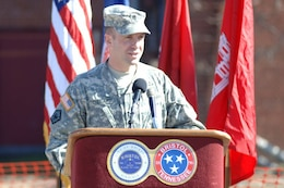 Lt. Col. James A. DeLapp, U.S. Army Corps of Engineers Nashville District commander, addresses guests during the Beaver Creek Flood Reduction Project Groundbreaking Ceremony at 719 Shelby Street in Bristol, Tenn., Feb. 7, 2012.