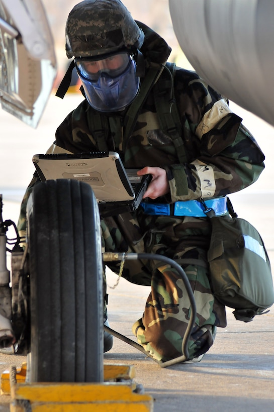 U.S. Air Force Airman First Class David Mannarino, a crew chief from the 140th Aircraft Maintenance Squadron, adds nitrogen to a tire of an F-16 Fighting Falcon during an Operational Readiness Exercise at Buckley Air Force Base Colo., January 20, 2012. Buckley Air National Guard airmen are taking part in the ORE being held on base throughout the weekend. The exercise evaluates airmen with mission readiness in preparation for real world deployments as well the Operational Readiness Inspection being held in the spring. (U.S. Air Force photo by Wolfram M. Stumpf /RELEASED)
