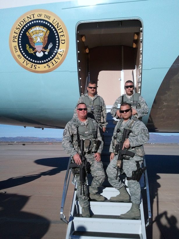 The 161st Security Forces Squadron provides Close Bound Sentry Security for Air Force One Jan. 25, 2012, during President Barack Obama's fifth official visit to Arizona since becoming president in 2009. Security forces members who provided the security while Air Force One was parked at Phoenix-Mesa Gateway Airport included Master Sgt. Jeffery Moore, Master Sgt. Charles Griffin, Master Sgt. Ron Davis and Tech. Sgt. Bryan Angst. (Courtesy photo)