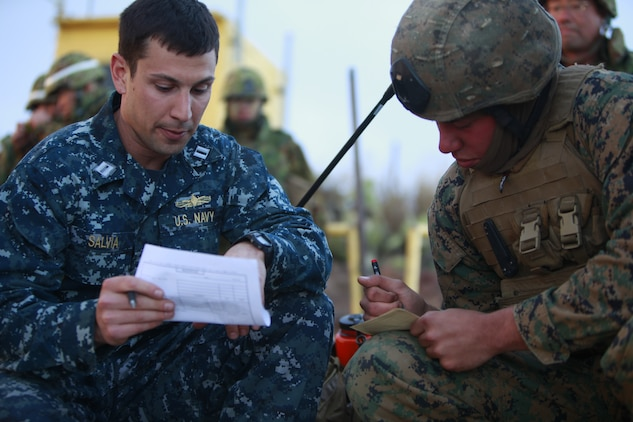 Navy Lt. Marc A. Salvia, Air Naval Gunfire Liaison officer passes on information to Lance Cpl. Joseph A. Ferguson, fire support man, 1st Air Naval Gunfire Liaison Company, during a combined arms exercise with the Japanese Ground Self Defense Force, Feb. 12. The exercise included 81 and 120mm mortars, fixed and rotary wing assets and Naval gun fire.  In addition to the gunfire exercise, the Japanese also practiced calling for fire. Exercise Iron Fist 2012 is a bilateral training exercise that gave the 15th MEU a chance to demonstrate its amphibious capabilities to the Japanese. Ferguson, 19, is from Brentwood, Calif., and Salvia, 28 is from Stanfordville, N.Y.